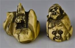 140 Antique pair of Japanese ivory netsukes Signed