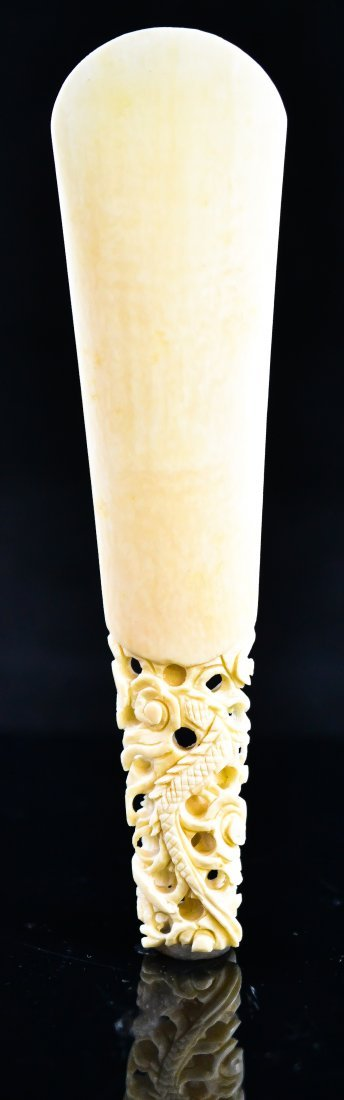 4: Antique Chinese carved ivory shoe horn, dragon handl