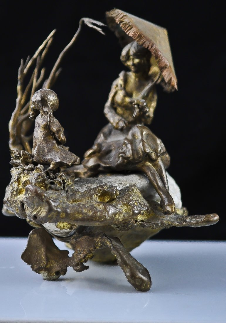 5: Bronze and Stone Figural statue. Signed G. Courtwrig