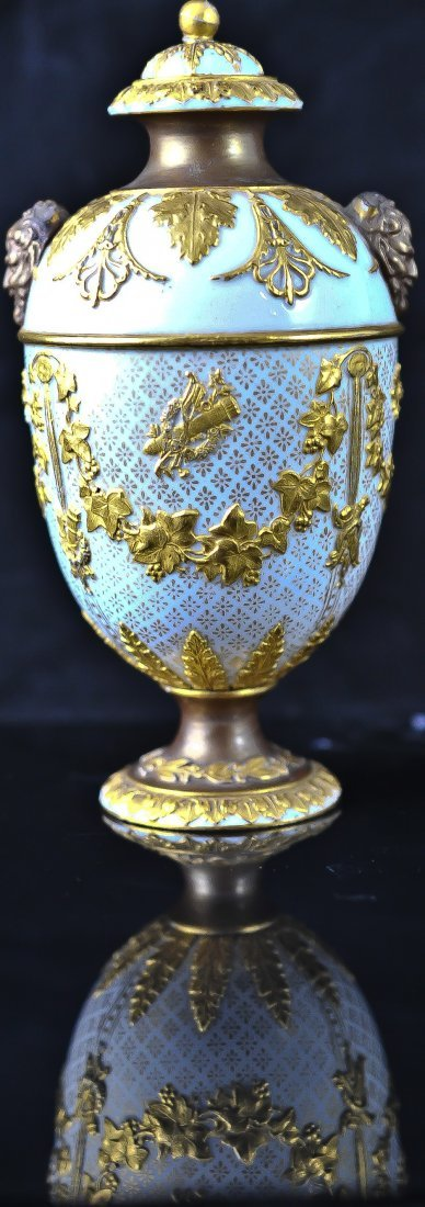 8: Rare Wedgwood Crème and gold Bacchus urn