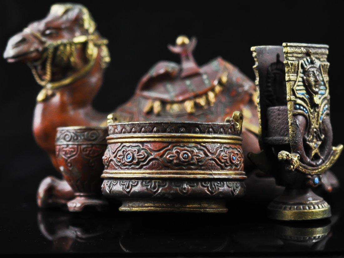 10: Egyptian polychrome metal camel desktop smokers set
