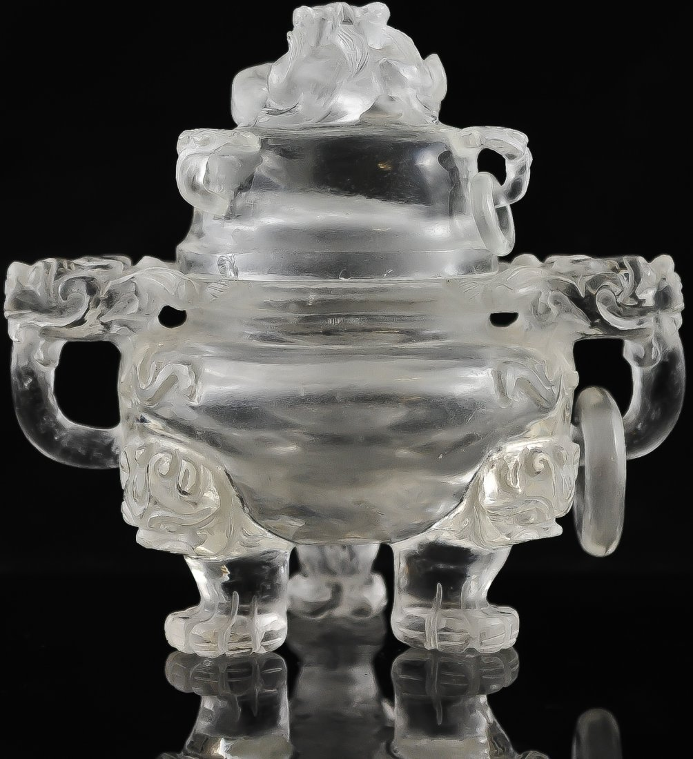 11: Chinese rock crystal footed candy jar