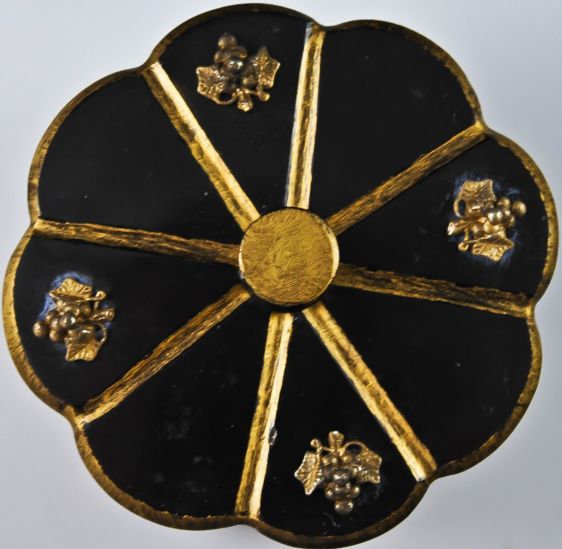 13: French black onyx carved box w/ gold gilded bronze