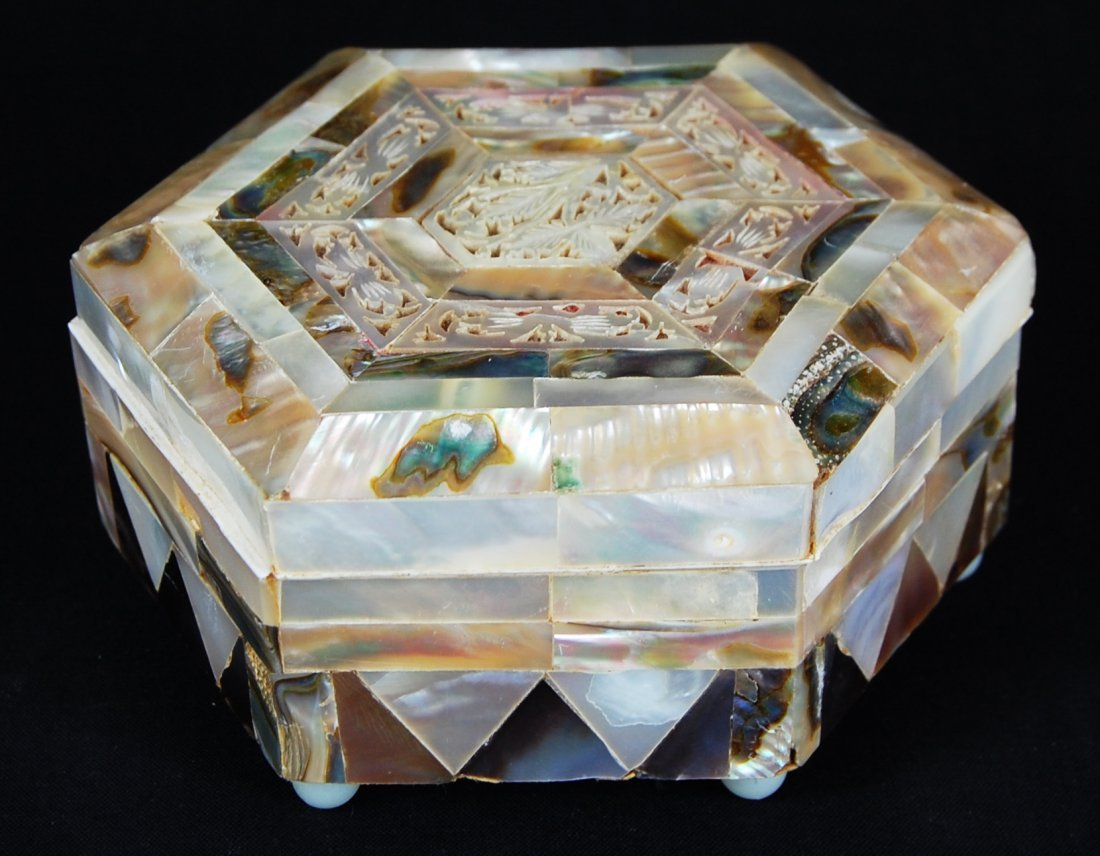 15: Mother of pearl inlay wooden jewelry box