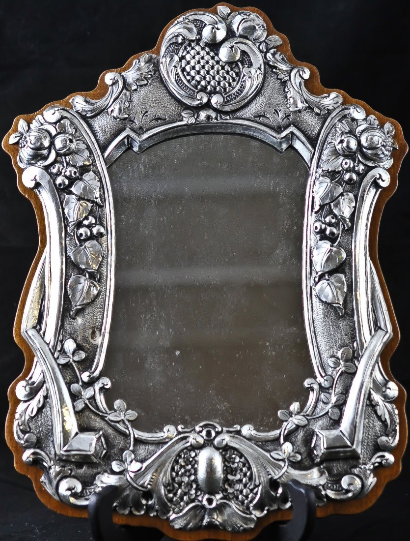 20: Silver Art Nouveau style hanging mirror. Stamped .9