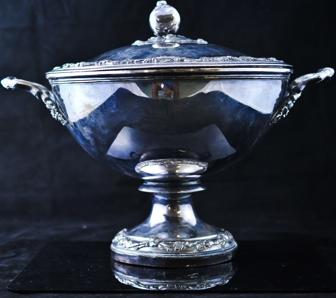 22: French Sterling and silver plated soup cauldron. St
