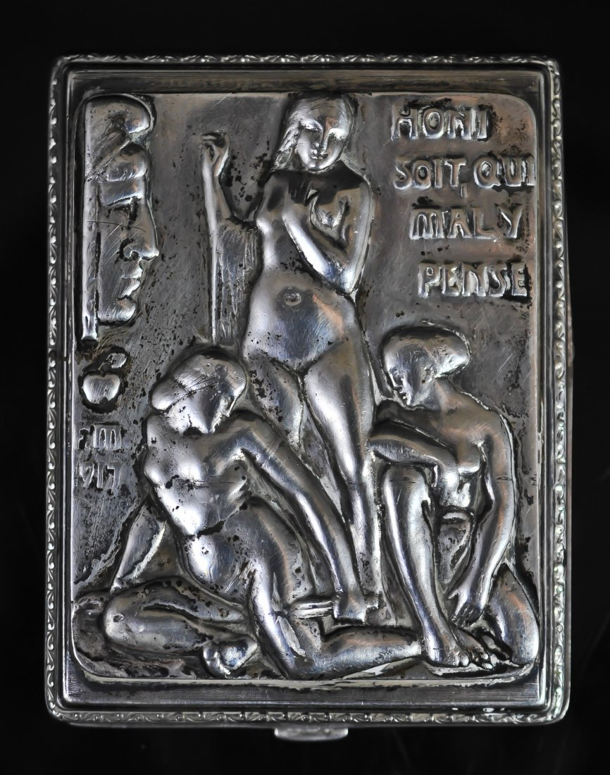 61: Antique Sterling French erotic cigarette case. Hall