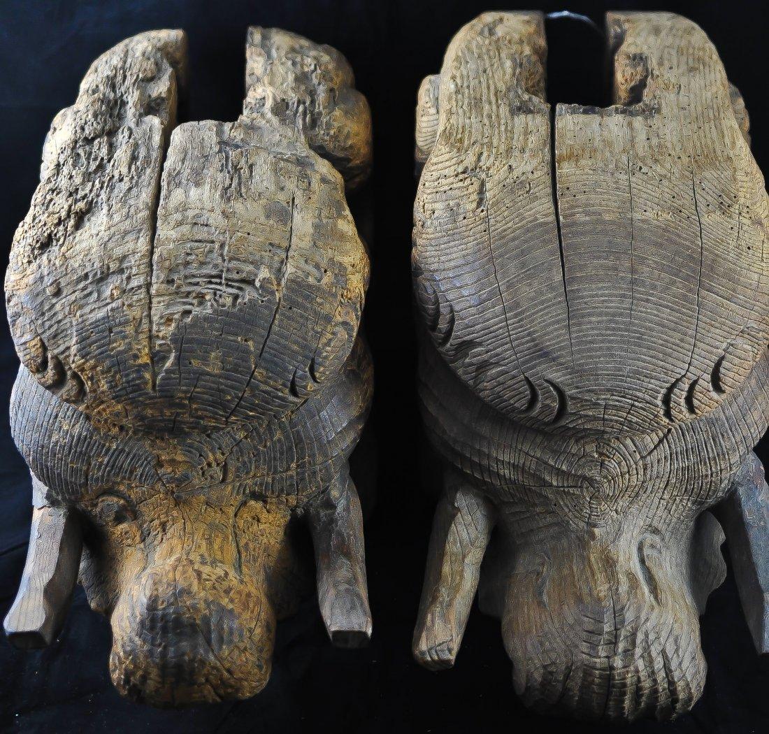 95: Pair of 18th ct Wooden Japanese Baku Elephant carvi