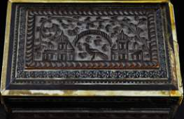 114 Antique hand carved wooden box w mother of pearl
