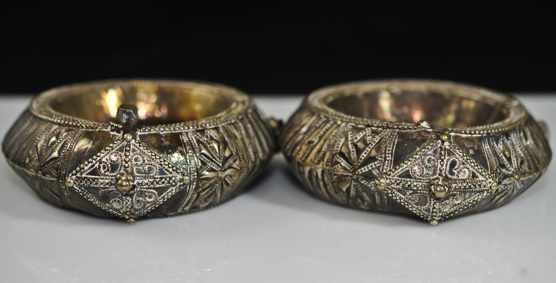 190: Pair of Tribal handmade silver ornate bracelets