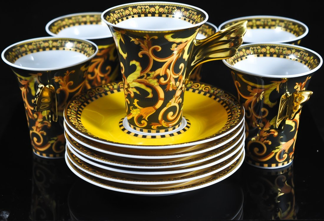 217: Set of 6 Rosenthal tea cups and saucers by Versace