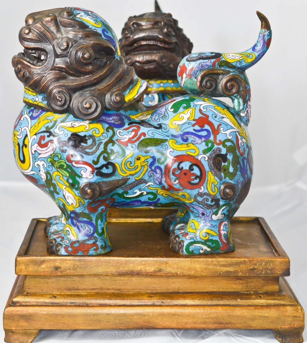 1: Antique Chinese pair of enameled cloisonne foo dogs