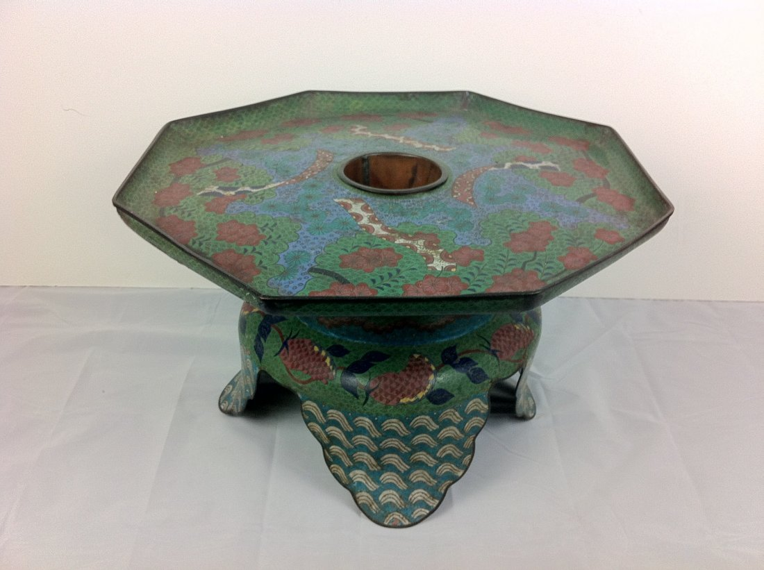 2: Large Antique cloisonne footed flower pot