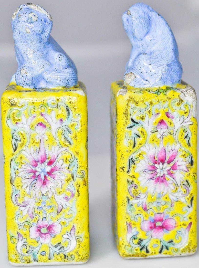 3: Chinese antique pair of ceramic foo dog seals