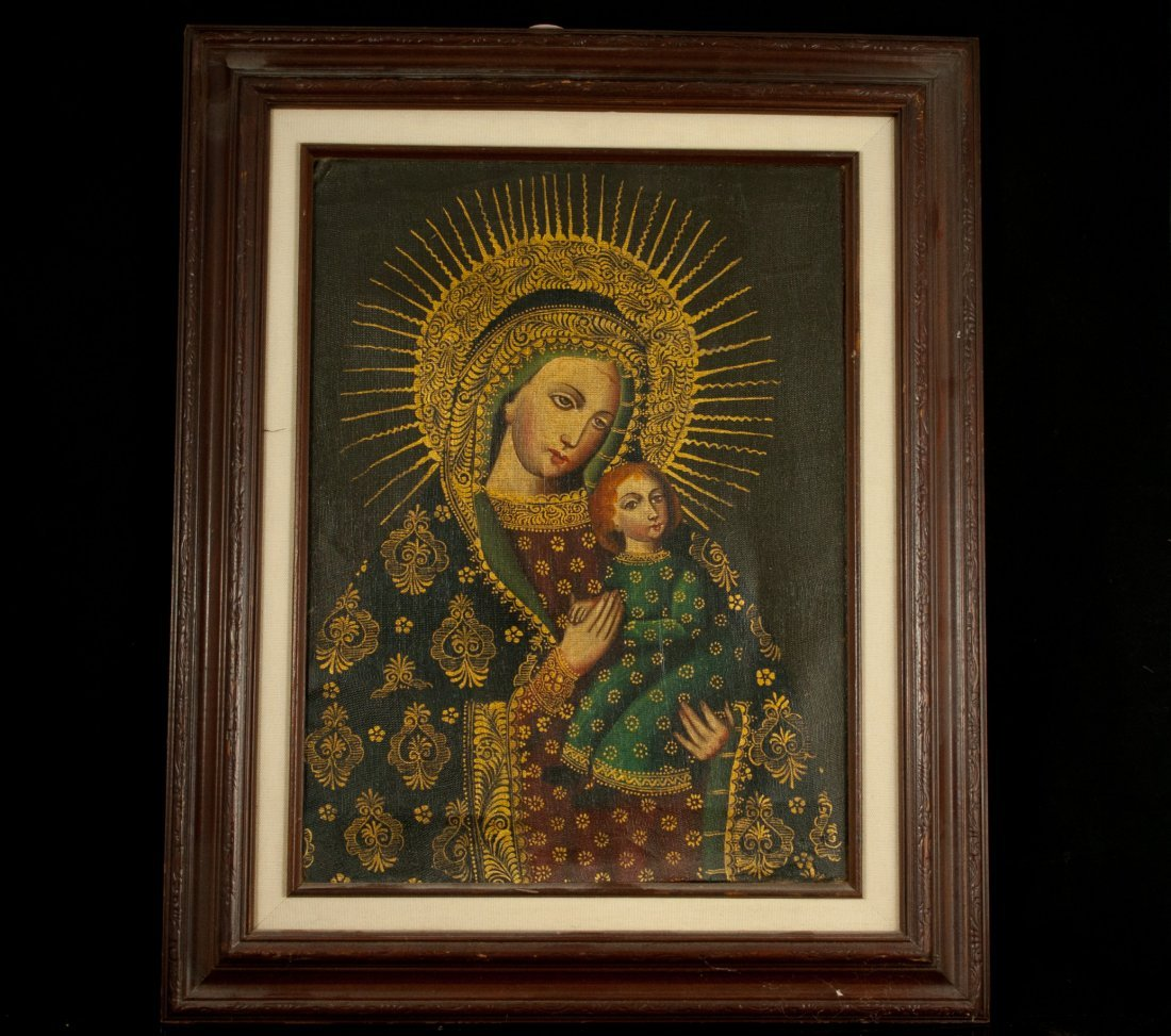 5: Spanish Religious oil on canvas painting