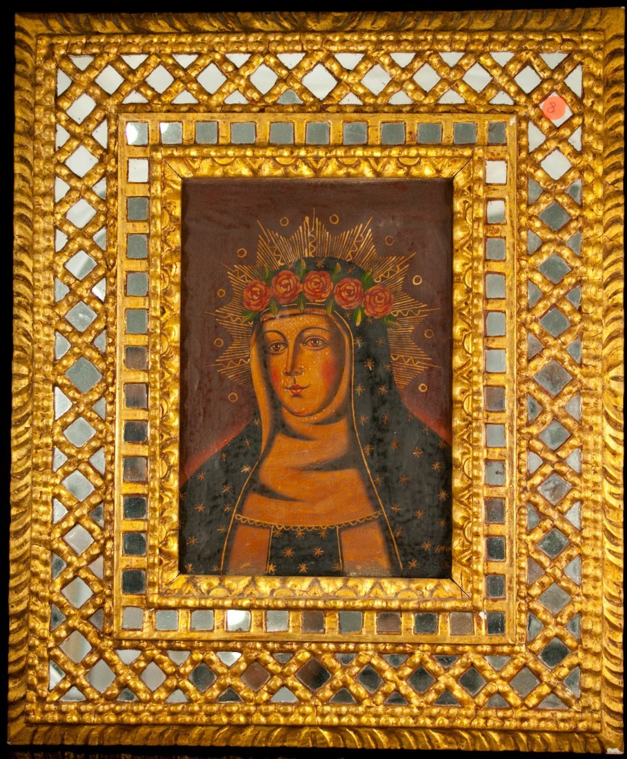 8: Religious oil on canvas of the Virgin Mary. Signed