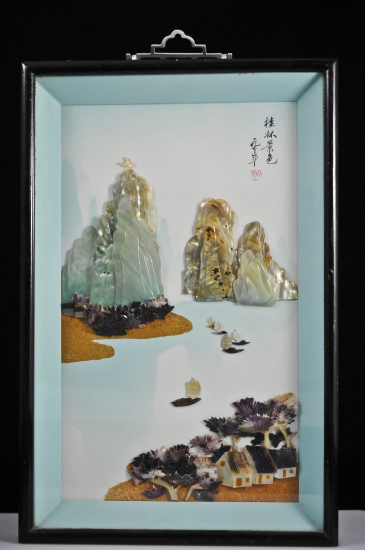 9 chinese mother of pearl framed wall art lot 0009. Black Bedroom Furniture Sets. Home Design Ideas