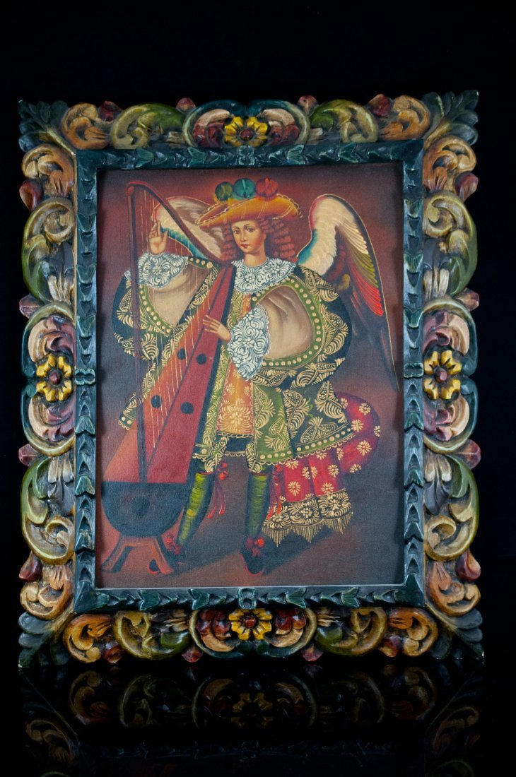 10: Religious oil on canvas on an angel playing a harp