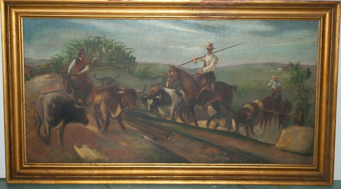 11: Spanish oil painting of herdsmen at work