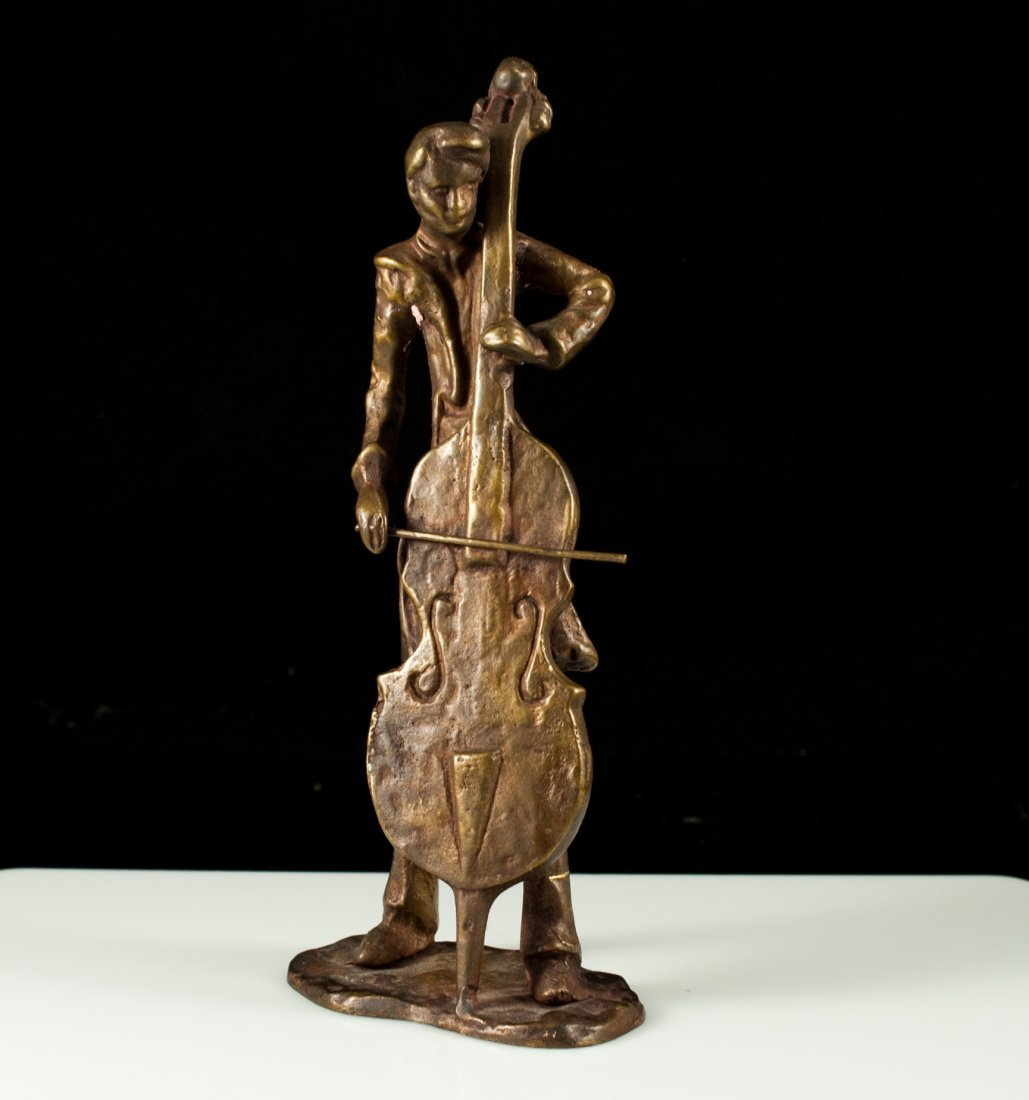 14: Early French bronze cello player statue