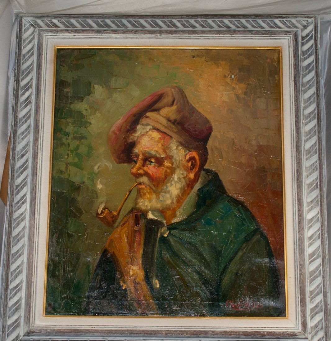 15: Italian oil painting on canvas. Man with tobacco pi