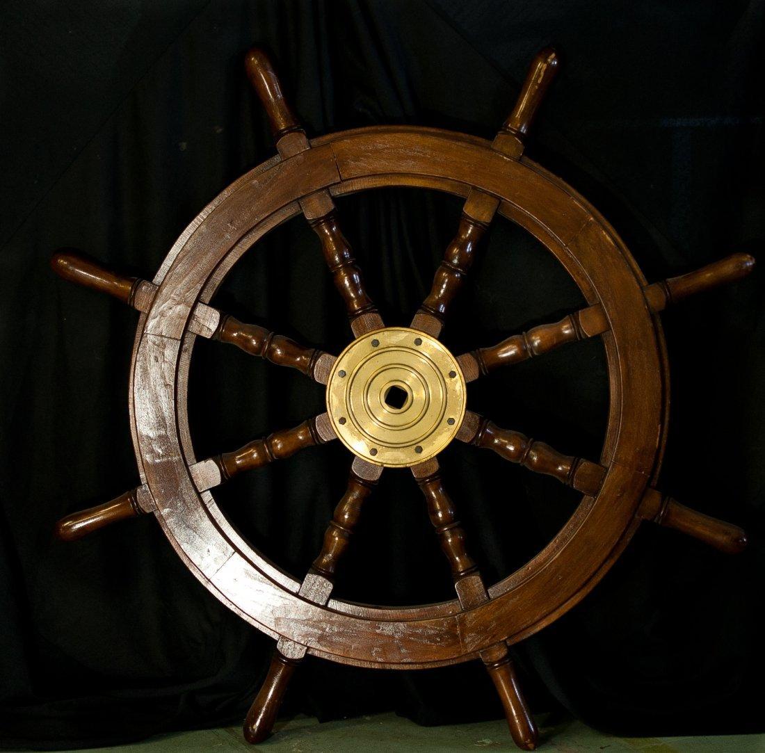 16: Vintage Teak wooden boat ships wheel