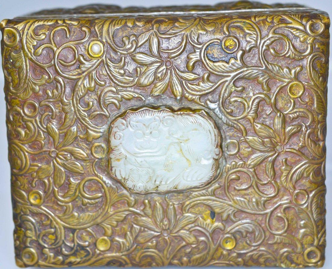 21: Chinese bronze and white jade box. Extremely ornate