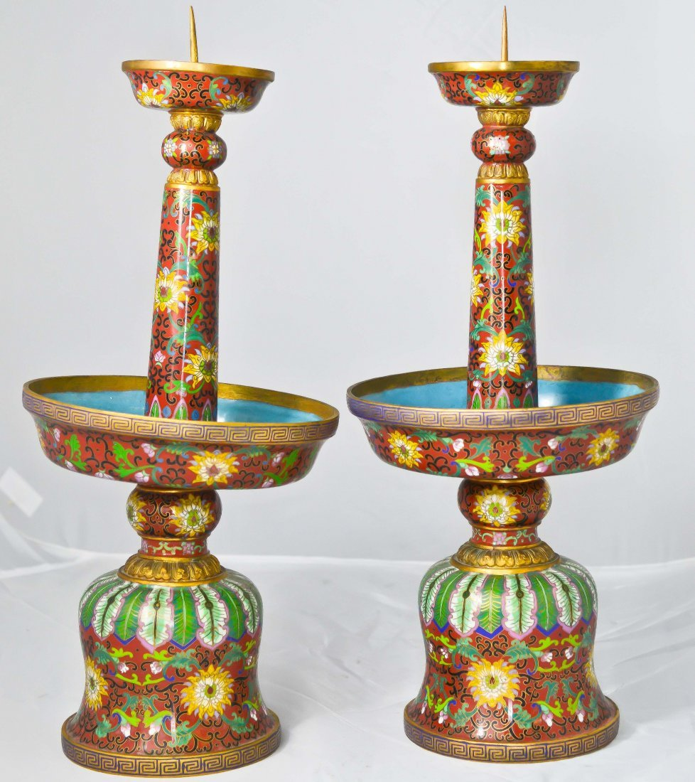 22: Pair of bronze Chinese cloisonné candelabras