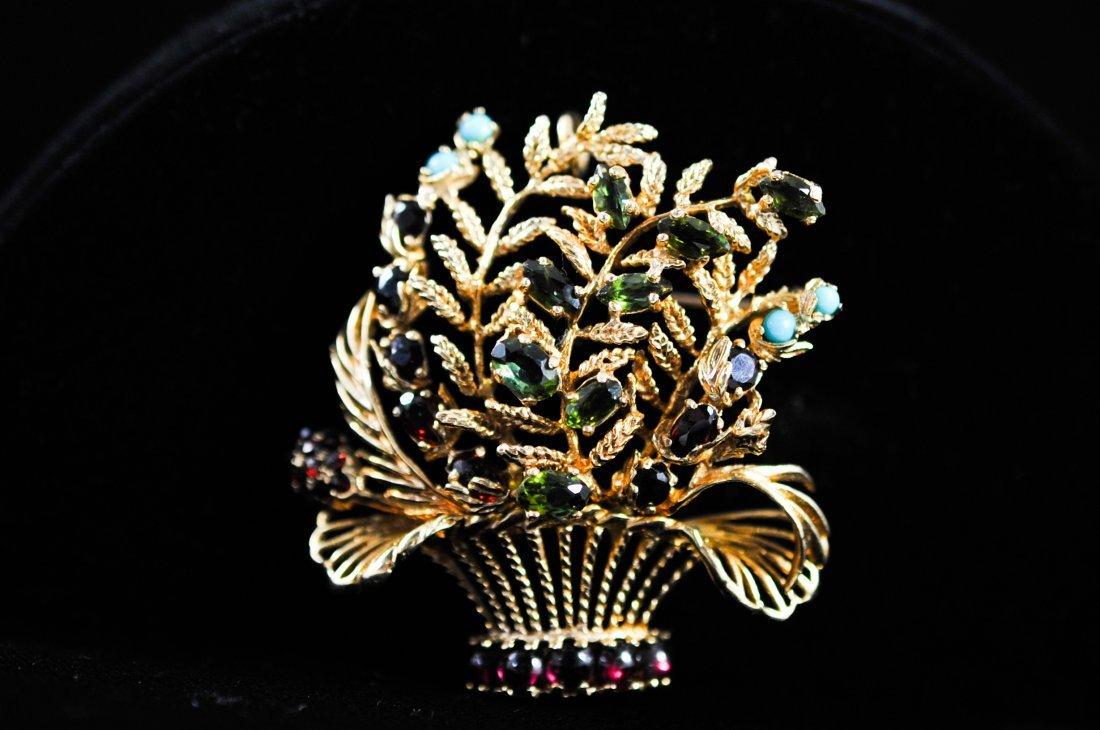 258: Vintage Lucien Piccard 14k multi stone floral broo