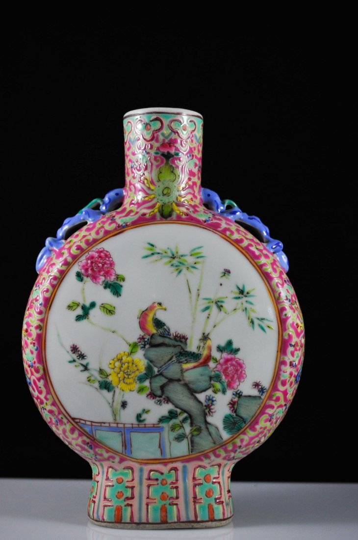 308: 19th Century Chinese hand painted moon vase