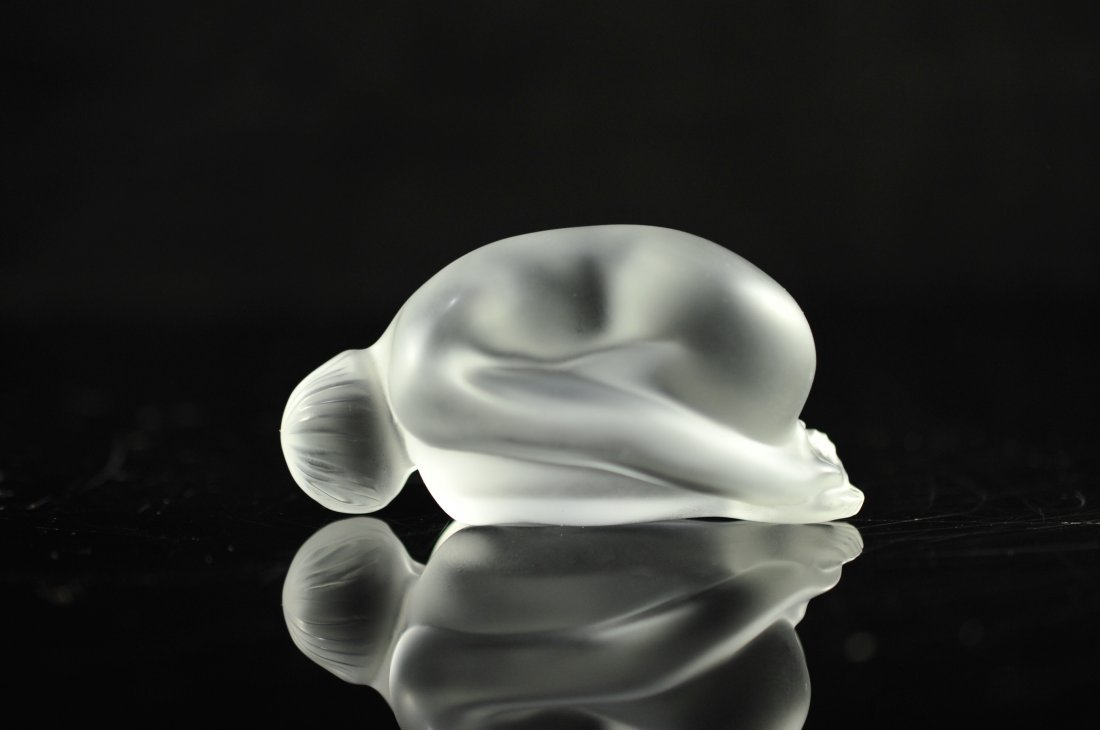 "2: Lalique ""Nude resting"" clear ornament. Signed"