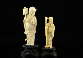 6: Lot of two Chinese ivory figures on wooden bases