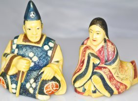 Pair Of Chinese Hand Carved Polychrome Ivory Figurin