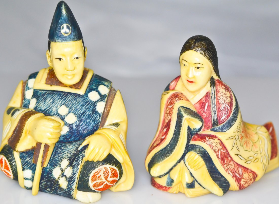 8: Pair of Chinese hand carved polychrome ivory figurin