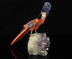 9: Vintage stone carved parrot on amethyst rock base
