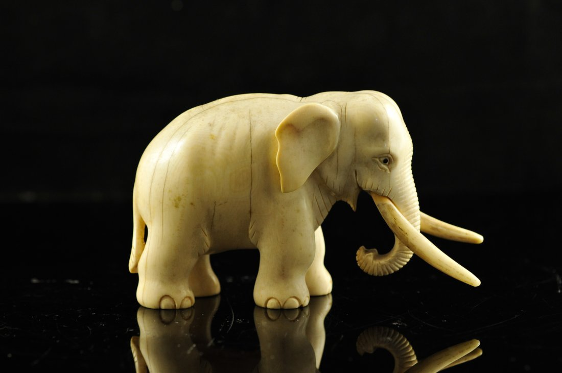 10: Chinese hand carved ivory Elephant figure
