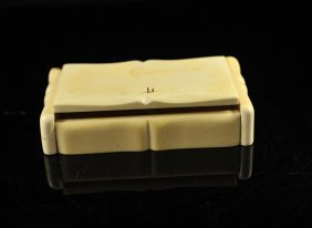 Large Carved Ivory Lidded Jewelry Box