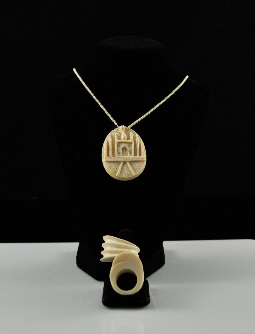 12: Three piece lot of antique ivory jewelry