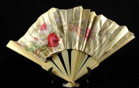 Large French Ivory And Silk Folding Fan