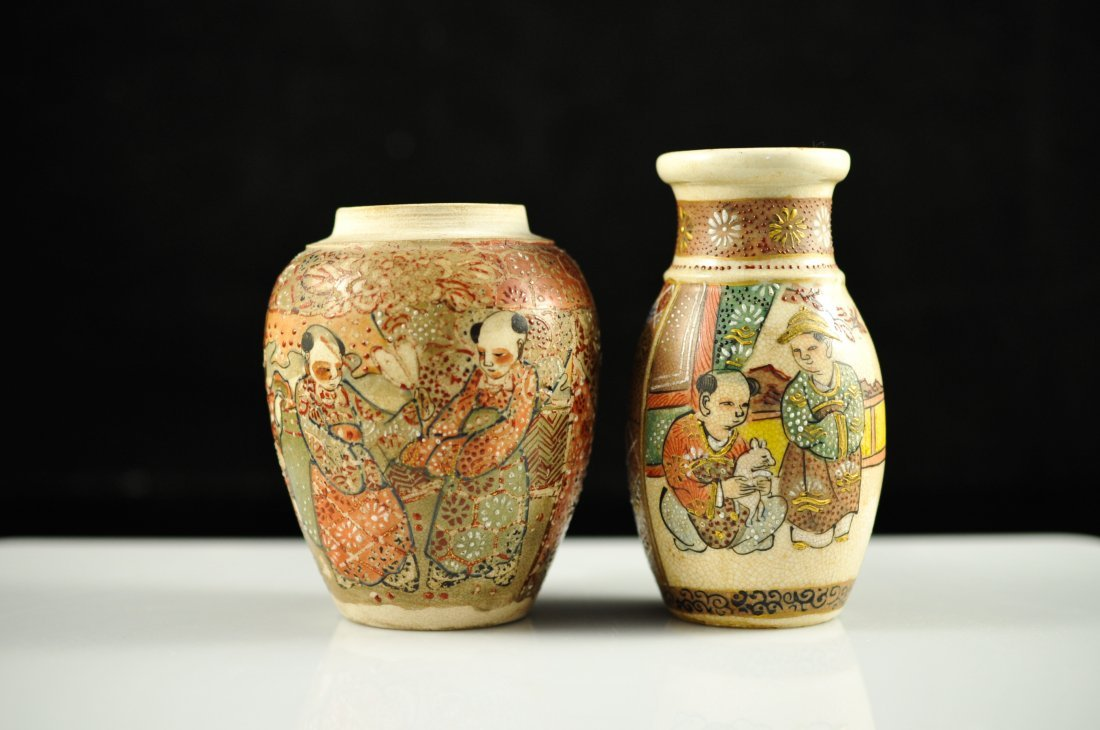 21: Two miniature vintage Japanese Satsuma vases