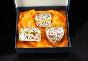 23: Lot of two Italian trinket porcelain box sets