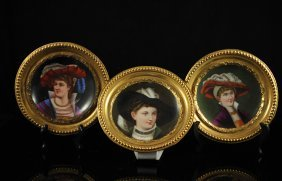 24: Three Victorian style hand painted porcelain plates