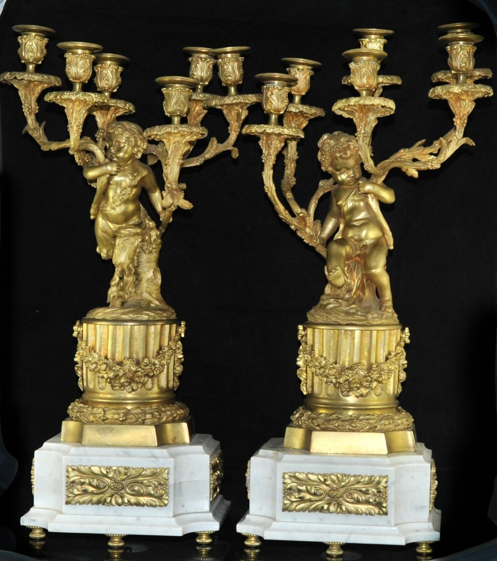 247: French dore bronze and marble figural candelabras