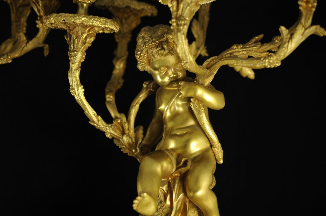247: French dore bronze and marble figural candelabras - 3
