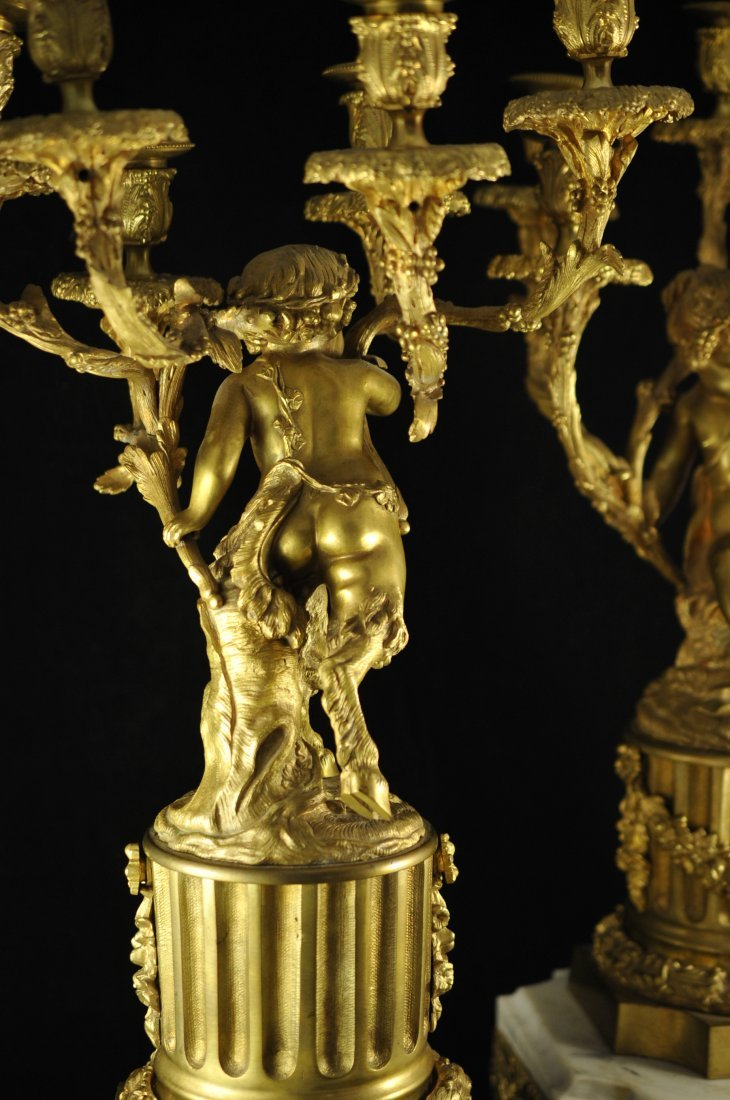 247: French dore bronze and marble figural candelabras - 9