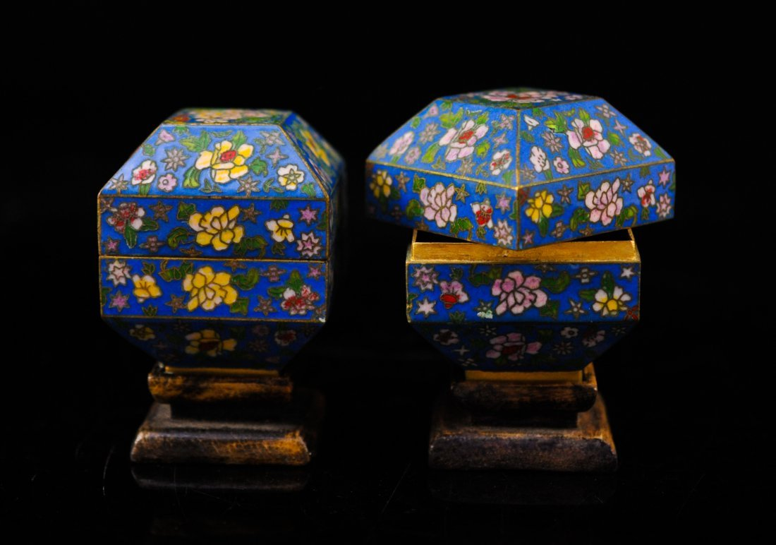 1: Pair of cloisonne enamel over brass boxes