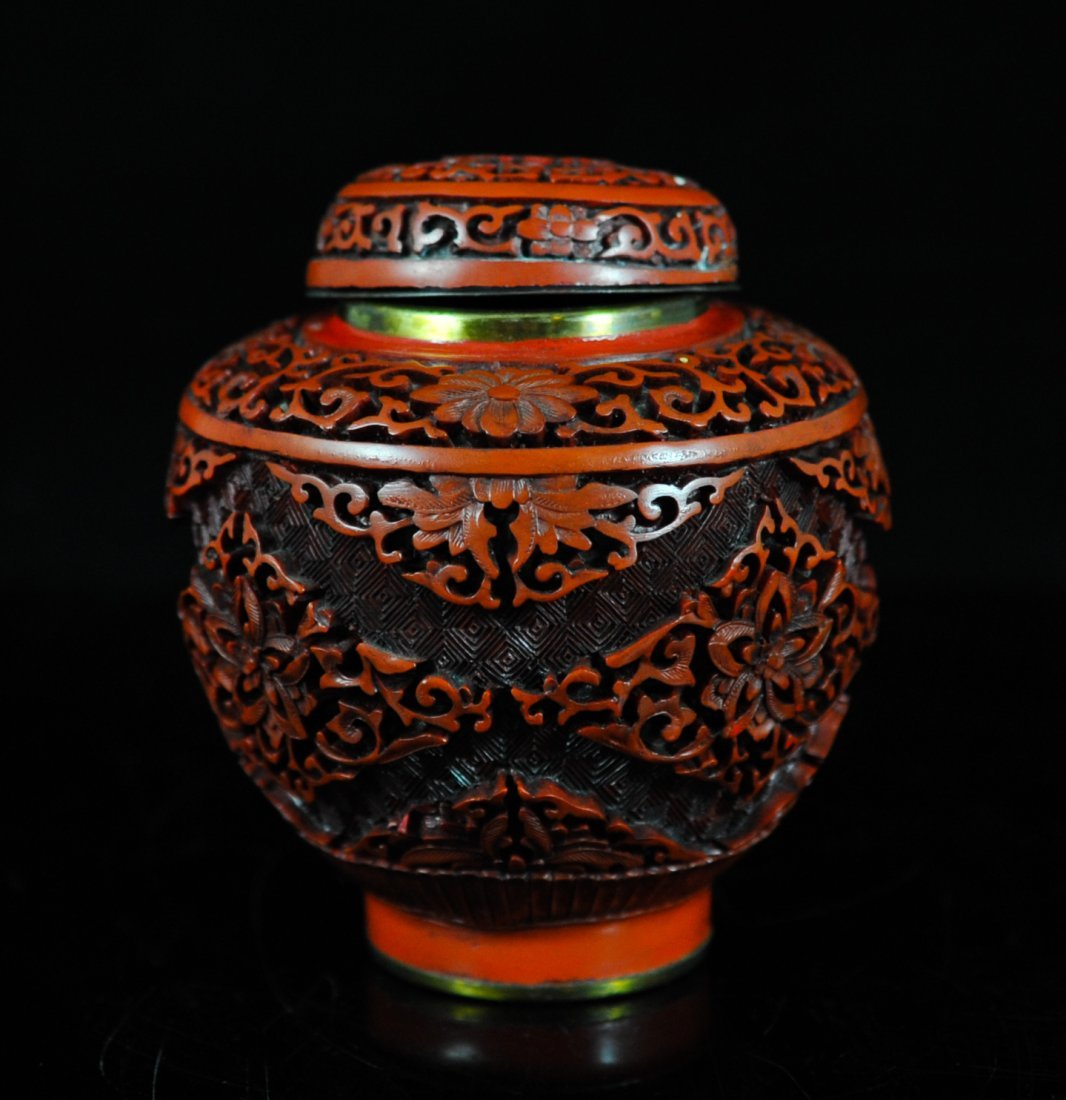 3: Antique Chinese hand carved cinnabar urn
