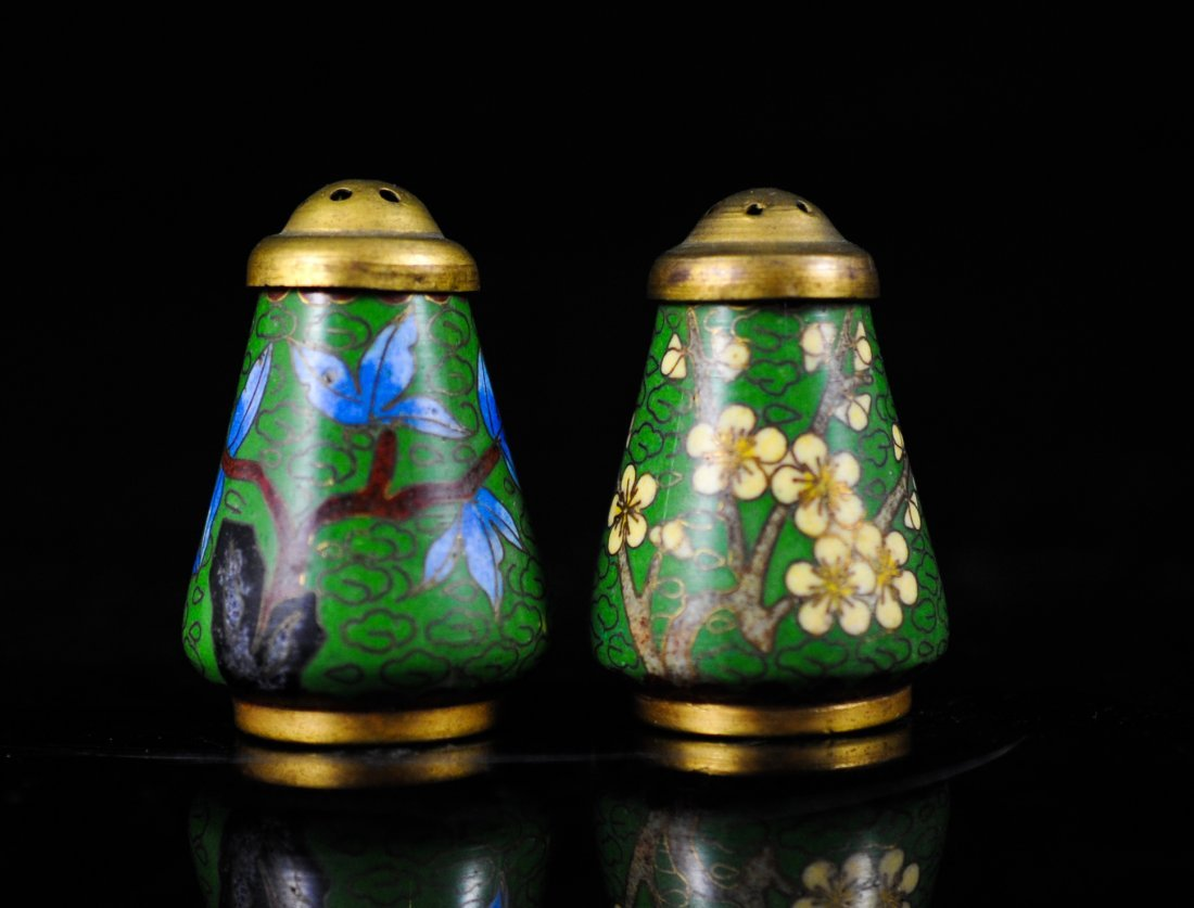 7: Pair of Chinese cloisonné salt sellers