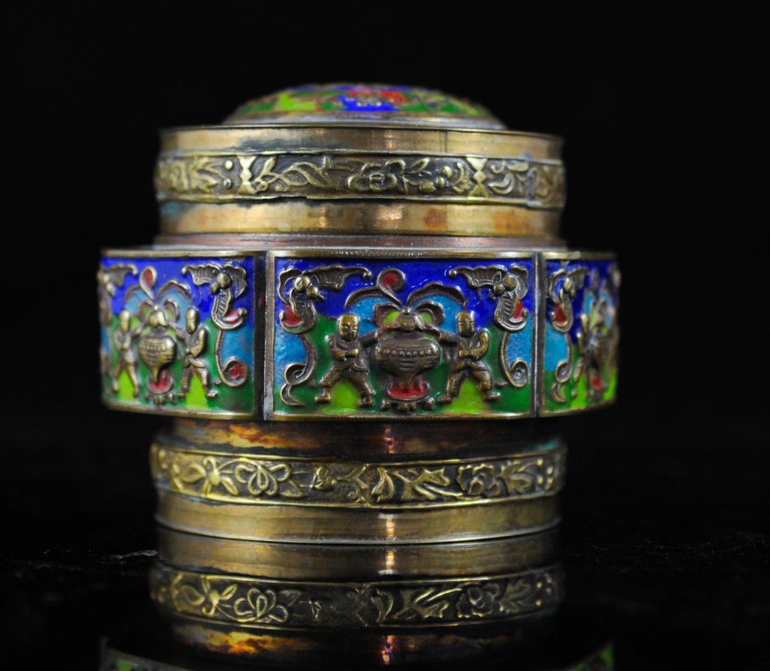 10: Chinese brass and enamel figural box