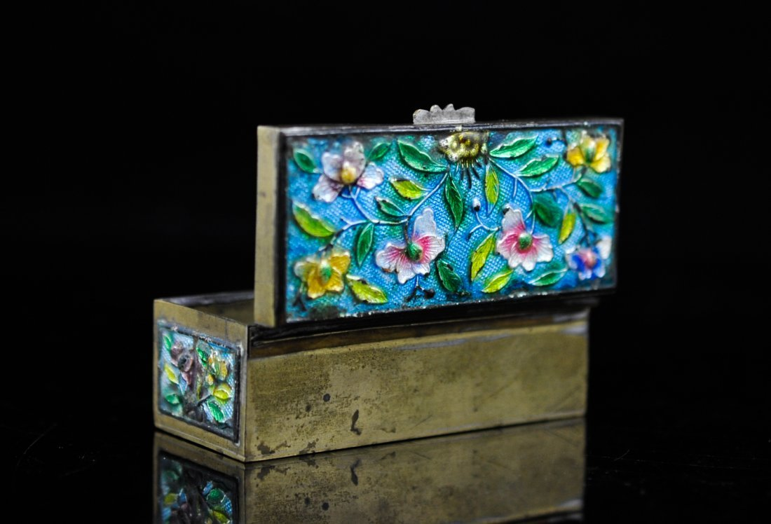 11: Antique Chinese enamel and brass stamp box